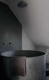 soaking tub...Shower Head, Modern Bathroom Design, Bath Tubs, Bathroom Interiors, Metals, Bathtubs, Hot Tubs, Grey Bathroom, Design Bathroom