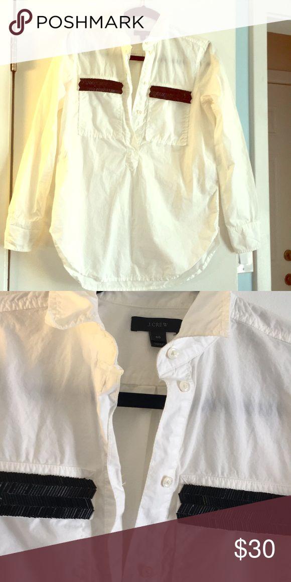 Jcrew chevron beaded pocket oxford Size 00 j.crew beaded chevron pocket oxford shirt brand new condition J. Crew Tops