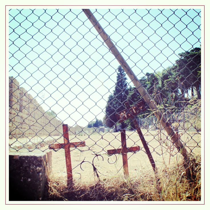 Cemetery at Castelo de Sesimbra. It looks like a deserted place.