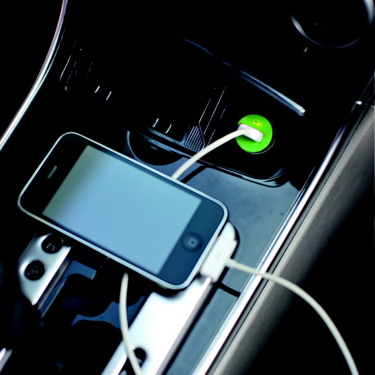 Micro Car USB charger. Portable connector that has an USB plug with an output of 5V/800mA to charge mobile phone, iPhone and iPod.