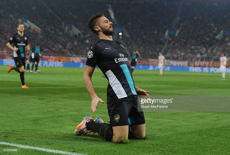 Olivier Giroud celebrates scoring the 2nd Arsenal goal during the UEFA Champions League group F stage match between Olympiacos and Arsenal at the Karaiskakis Stadium on December 9, 2015 in Piraeus, Greece. (Photo by Stuart MacFarlane/Arsenal FC via Getty Images