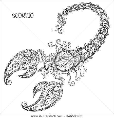 Pattern For Coloring Book Hand Drawn Line Flowers Art Of Zodiac Scorpio Horoscope Symbol Your Use Tattoo Books Set