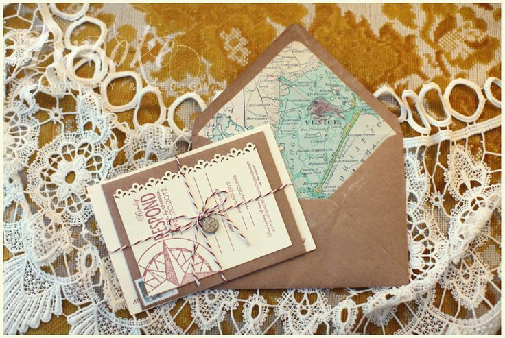 #Vintage #map #invitation