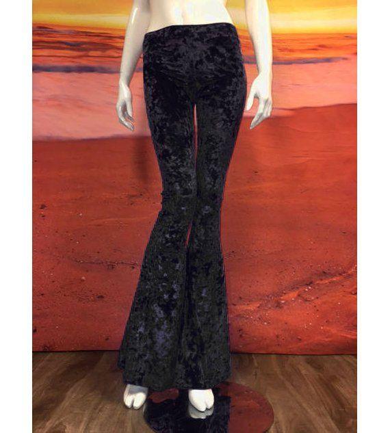 6e910ed788f94 Black Crushed Velvet Flare Leggings Tights Bell Bottom Pants 70's Spandex  Stretch