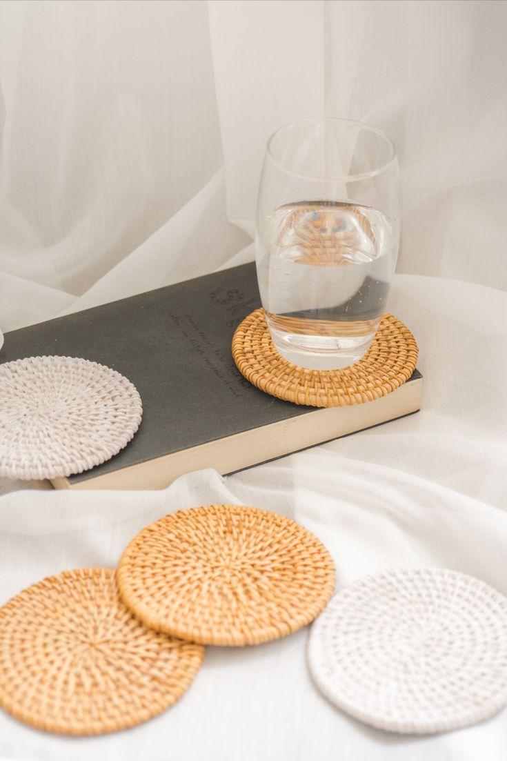 Woven Rattan Coasters Natural Trivet For Home Decoration Home Ideas Palm Leaf Baskets Home Decor Rattan