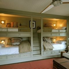 eclectic kids by Bill Huey + Associates use downstairs make them double bed size no rails or rails fold down  so its easier to make up the bed!