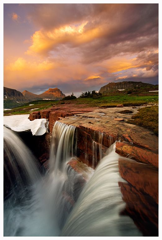 """Triple Falls Monsoon Sunset,"" Logan Pass, Glacier National Park, Montana. Photo: Joseph"