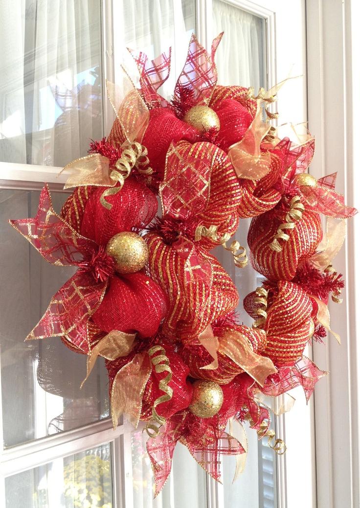 Deco Mesh Wreath Christmas Slim Screen Door Red Gold Holiday Decor. $49.97, via Etsy.