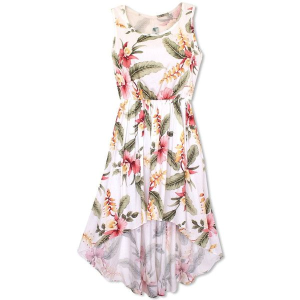 - Details - Size Chart - How to Measure - Floral and tropical printed Hawaiian dress with a high low hem and a feminine fit. Featuring blush pink cattleya orchid blooms & island heliconia flowers. -Pi