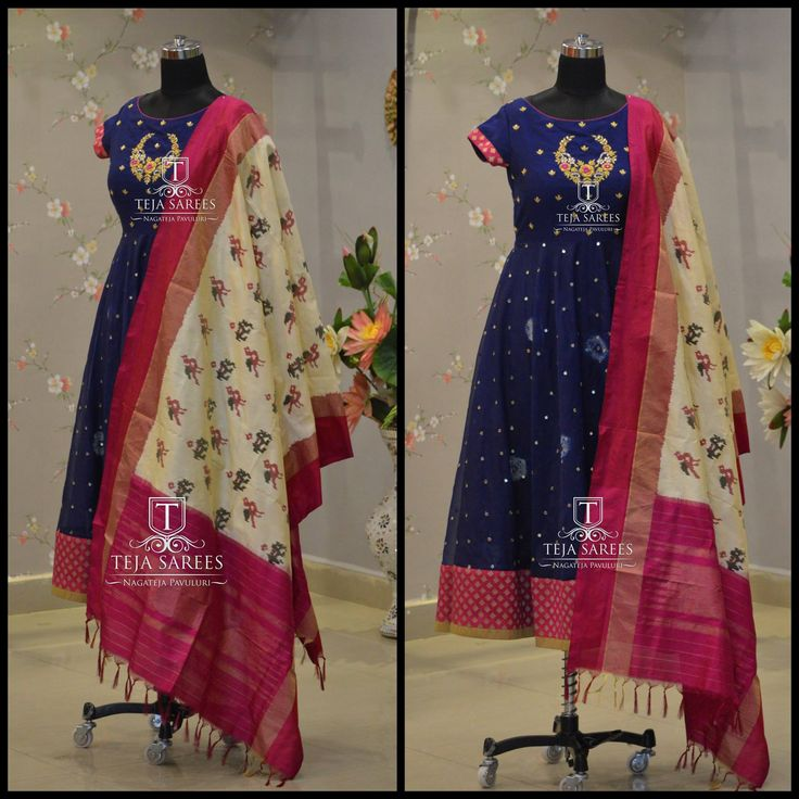 Beautiful floor length blue color dress with ikkat duppata from Teja.TS-DS- 476AvailableFor orders/queriesCall/ whatu2019s app us on8341382382 orMail us tejasarees@yahoo.com  08 June 2017