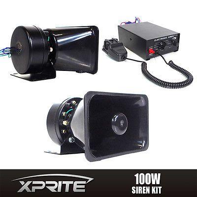 100W 12V Car Truck Alarm Police Fire Loud Speaker PA Siren Horn MIC System Kit #Motors #Parts #Accessories #Professional Megaphone 100w