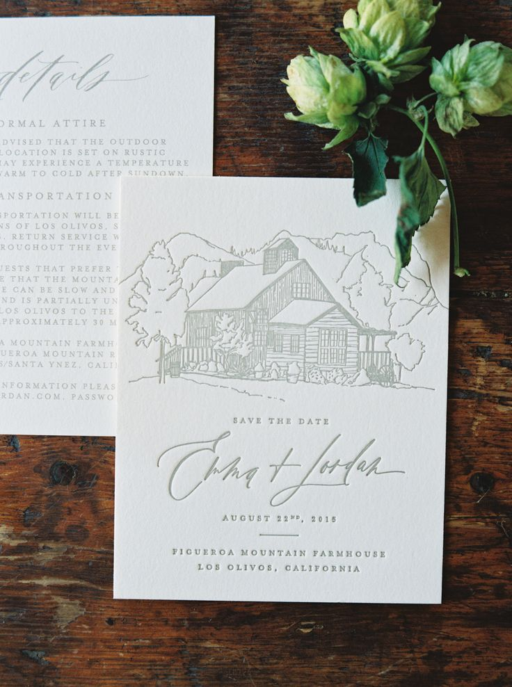 Calligraphy and Design by: Written Word Calligraphy // Figueroa Mountain Farmhouse // Erich McVey Photography // Joy Proctor Design // custom  Save the Date design