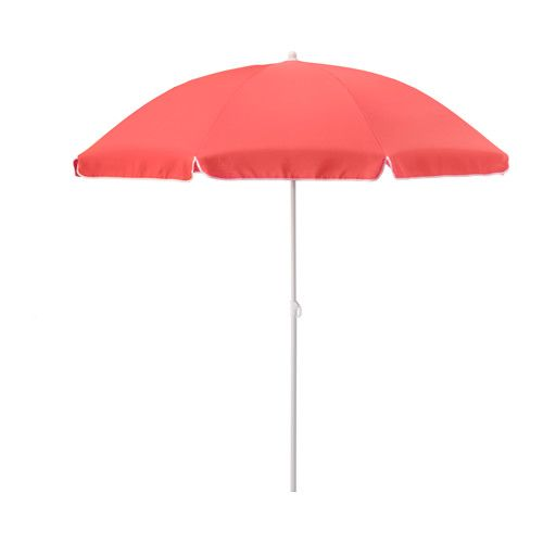 IKEA - RAMSÖ, Umbrella, adjustable/light red, , The fabric gives very good protection against the sun's UV rays as it has a UPF (Ultraviolet Protection Factor) rating of 25+, which means it blocks 96% of the ultraviolet radiation.The hook-and-loop strap keeps the fabric in place when folded.