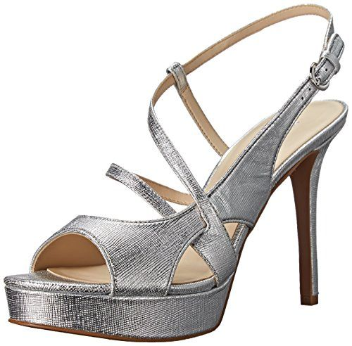 Nine West Womens Sotrue Metallic Heeled Sandal Silver 65 M US *** Click image to review more details.