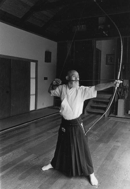 Koun Roshi is a distant cousin in one of our Schools of Zen Archery. Shown here in kai (full draw) at his dojo inside Enryakuji (Zen Temple).