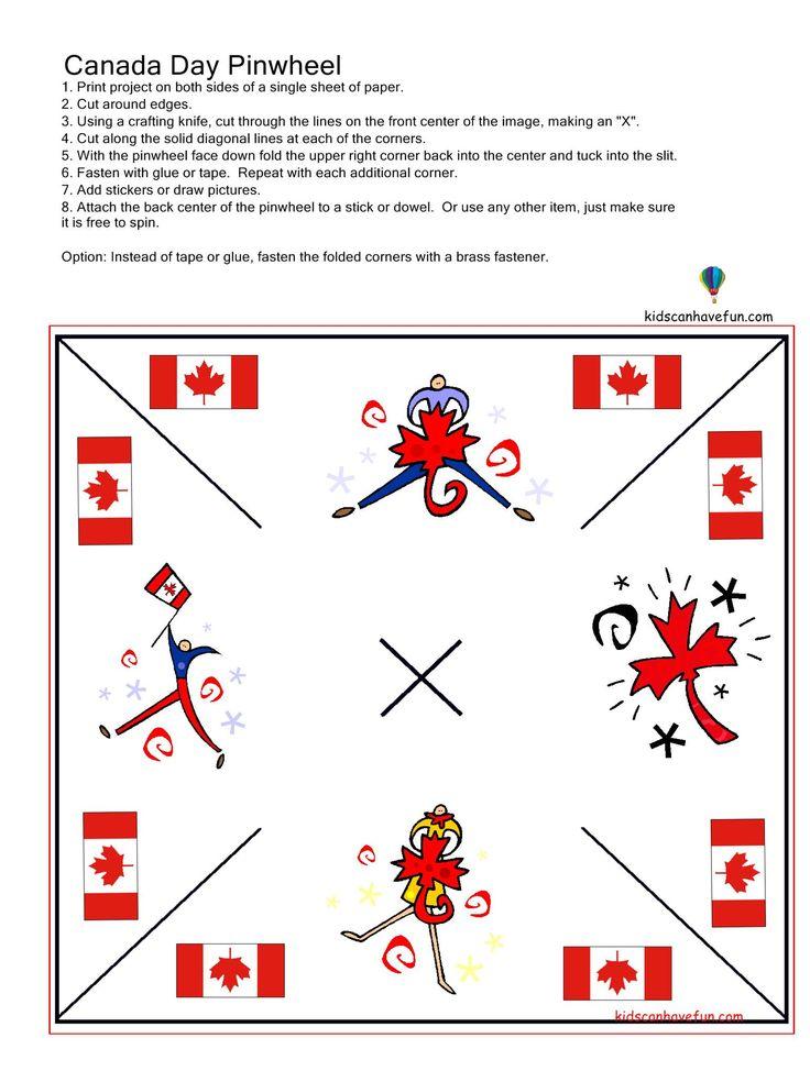 DIY Canada Day Pinwheel http://www.kidscanhavefun.com/canadaday-activities.htm #canadaday #celebrate #printables
