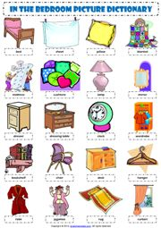 in the bedroom esl picture dictionary worksheet icon