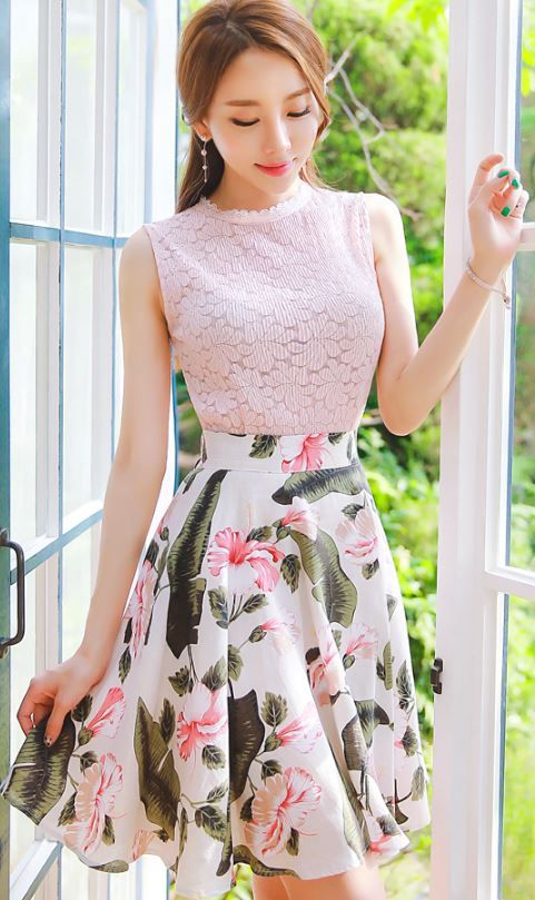 StyleOnme_Floral Print Full Skirt #flower #print #patterned #skirt #spring #summer #pink #koreanfashion