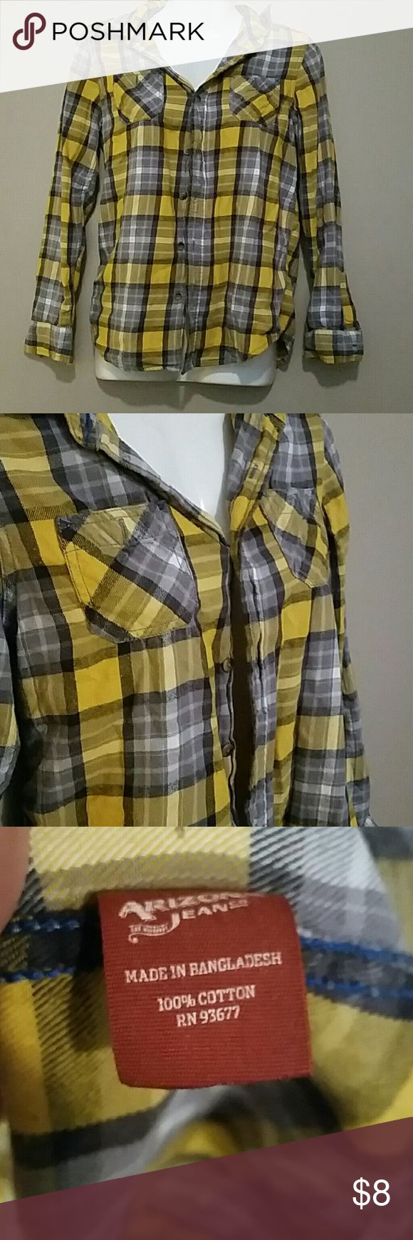 Flannel Yellow, white, gray, charcoal No holes or stains No missing buttons Arizona Jean Company Tops Button Down Shirts