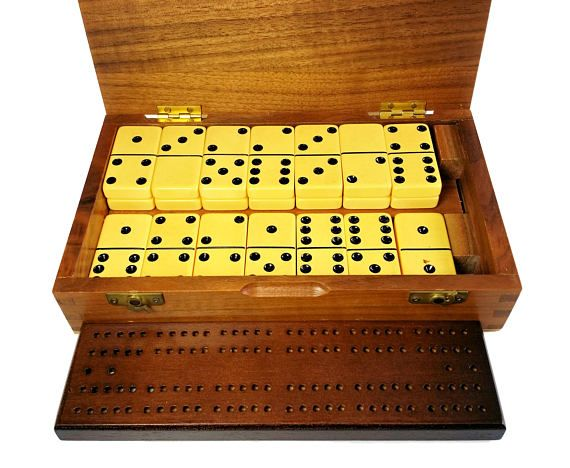 Vintage, Drueke, Bakelite Catalin, Domino and Cribbage Set. Item: Board Game  Brand: Drueke  Model: 702 B  Material: Bakelite Catalin in Hinged Wood Box  Size: Cribbage Board is 7.5 x 2 Dominoes are 1 x 2  Origin: U.S.A.  Age: Mid Century  Condition: Excellent. Very Clean. Please