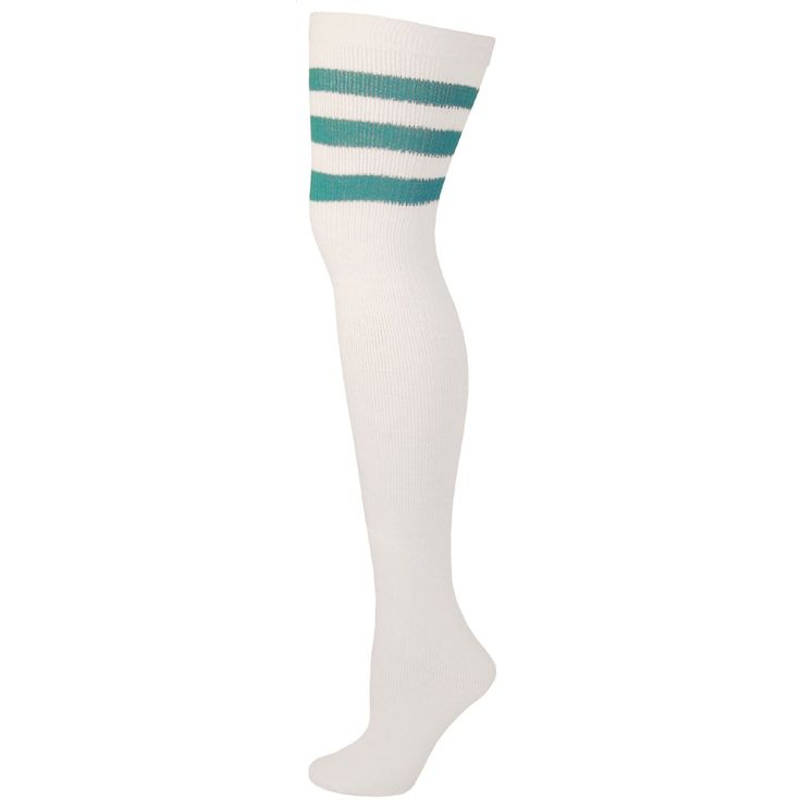 AJs Retro Thigh High Tube Socks - White, Turquoise-M