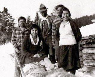 Group at Paddy's Lake, Telegraph Creek, c. 1933.  Photo: British Columbia Archives