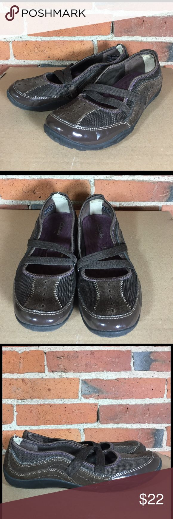 Clark's Privo Shoes Brown Comfort Flats Mary Jane Clark's Privo ladies' shoes -- brown canvas & suede Mary Jane-style strap Size 6.5M Very good condition -- light wear, see photos Clarks Shoes Flats & Loafers