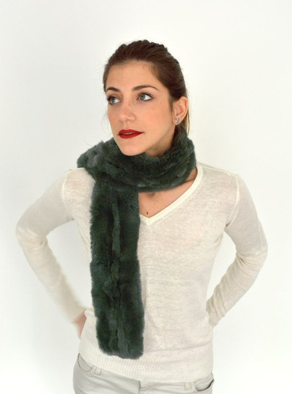 Women's Handmade Green Fur scarf made with genuine Rex by lefushop