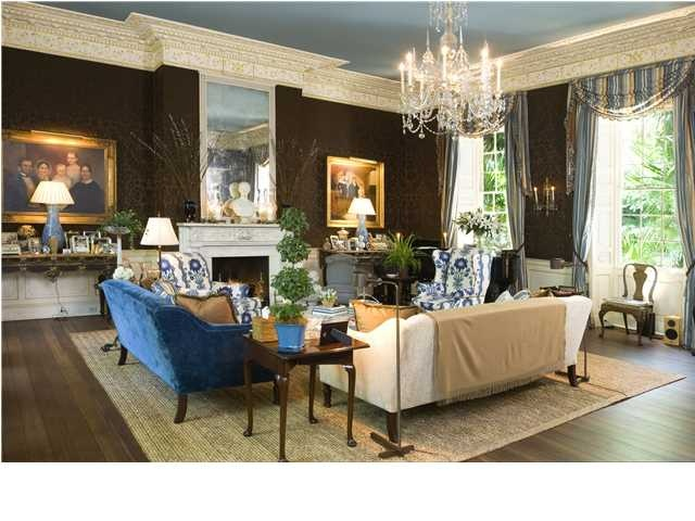 Delightful Charleston Home Decor Part - 13: Living Room In Historic Charleston Home. Love The Blue Accents #charleston # Homedecor