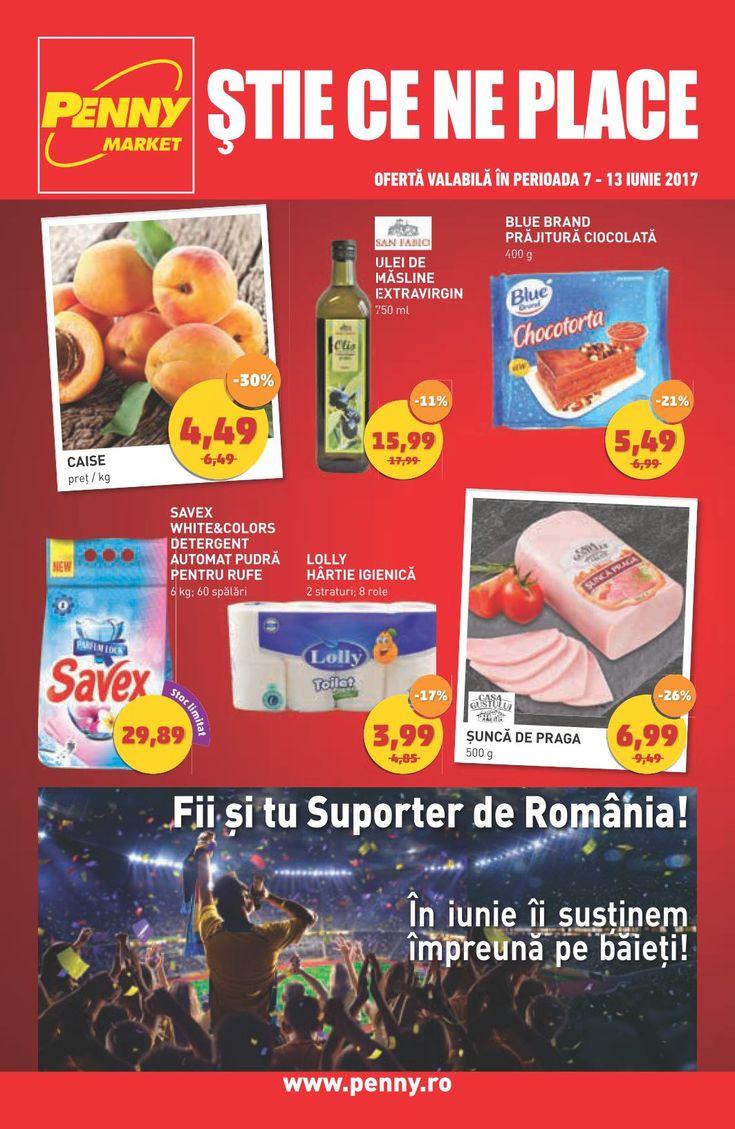 Catalog Penny Market Suporter de Romania 07 - 13 Iunie 2017! Oferte: caise 4,49 lei; Blue Brand prajitura ciocolata 5,49 lei; Savex White&Colors detergent
