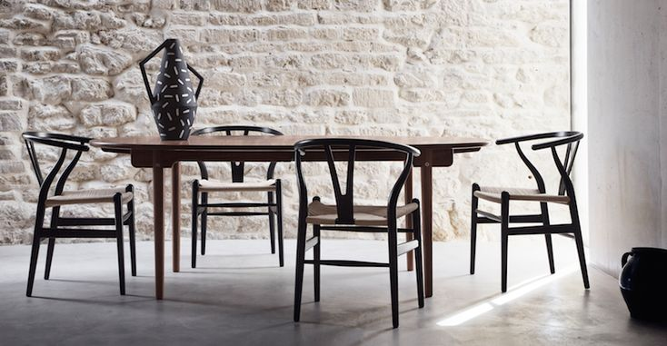 CH24 Wishbone chairs and   CH338 dining table  Danish Interior Design Budapest