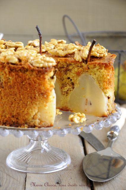 Un gâteau à IG très bas : Gâteau moelleux et léger aux poires, vanille et Noix « caramélisées » au sirop d'agave:
