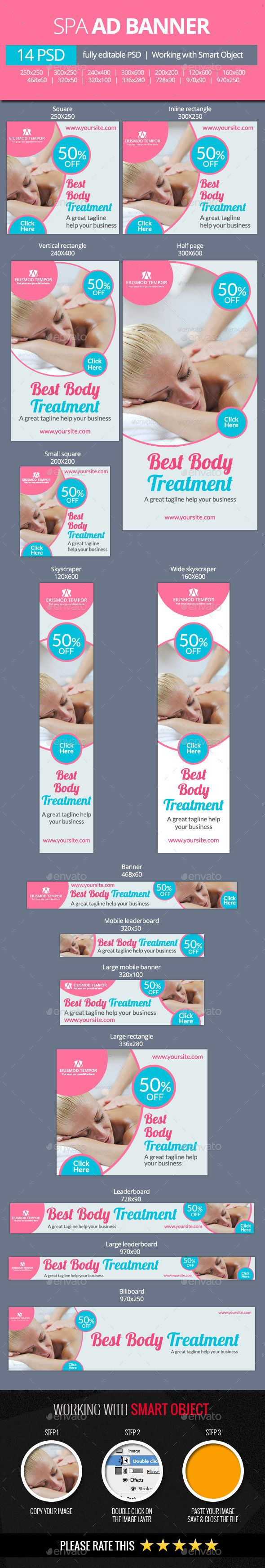 Spa and Beauty Treatments Web Banners - Banners & Ads Web Template PSD. Download here: http://graphicriver.net/item/spa-and-beauty-treatments-web-banners/11101606?s_rank=1178&ref=yinkira