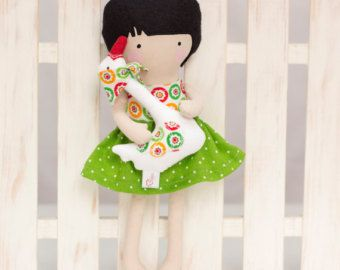 Items similar to Handmade Cloth Doll Rag Doll Fashion Doll Soft Doll with Clothes - Ruffled back cut out doll dress, skirt, kerchief - MADE TO ORDER on Etsy