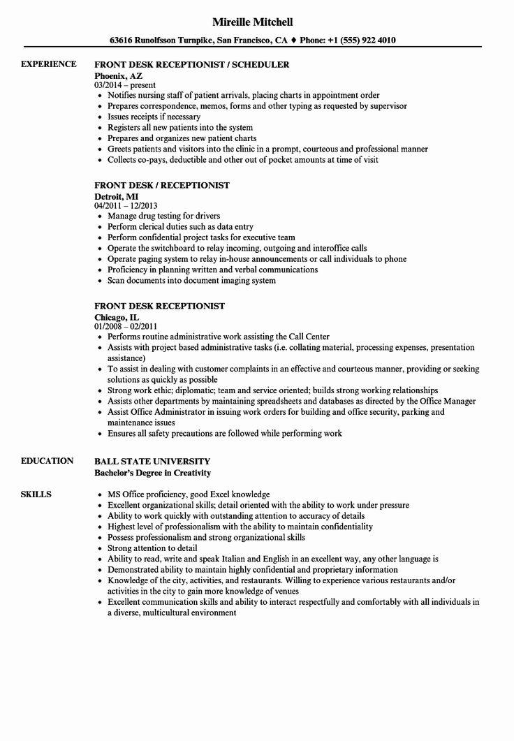 Front Desk Resume Example Best Of Front Desk Receptionist