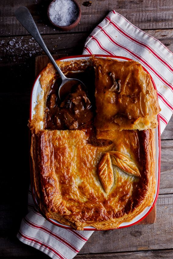 Rich, meaty steak and mushroom stew topped with golden, flaky pastry. This steak and mushroom pot pie is the personification of comfort food.
