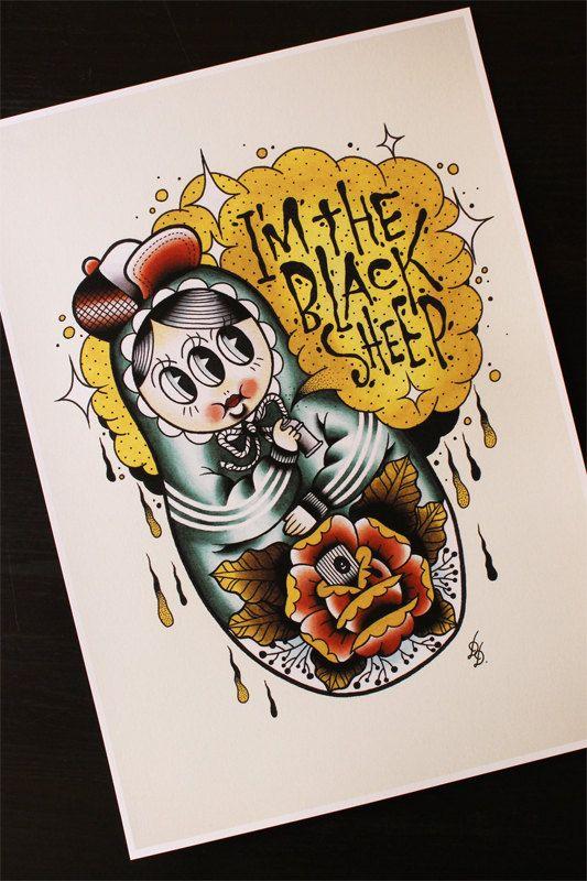The Black Sheep Matryoshka Babushka Russian Doll Traditional Tattoo Flash by Yukittenme