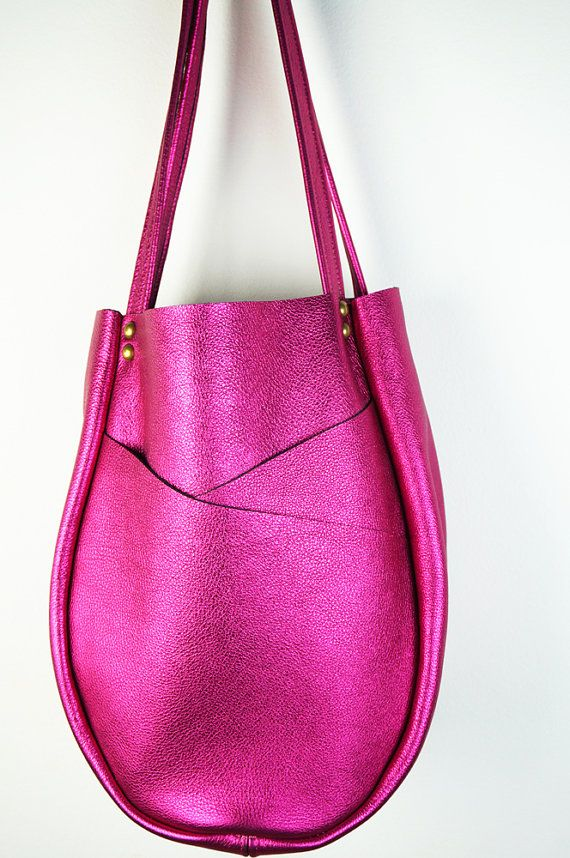 Fuchsia Leather Shoulder Bag/Metallic Leather by NeroliHandbags