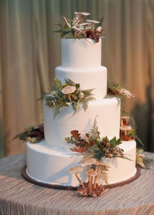 Pure White Woodland Wedding Cake With Mushrooms And Ferns