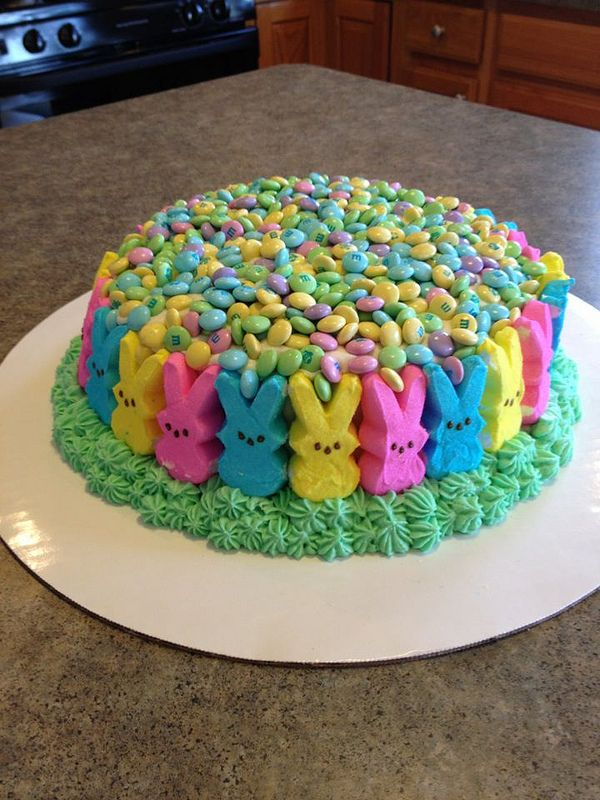 cute cake.. you could use any kind of cake.. peeps and pastel M & Ms  #easter #cake #dessert