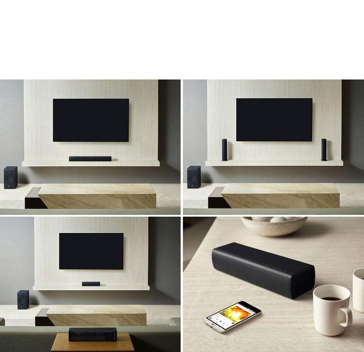 Barra de sonido LG SJ7 en mueble TV