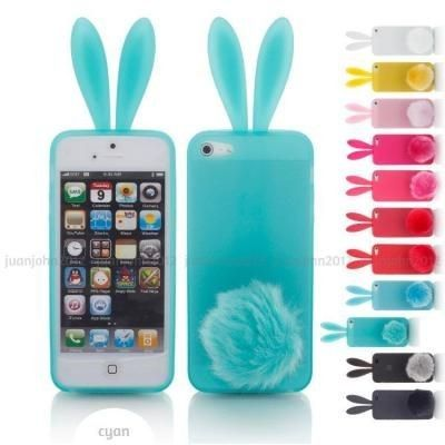 Cute Bunny Rabbit TPU Case with Tail Stand for iPhone 55s44s