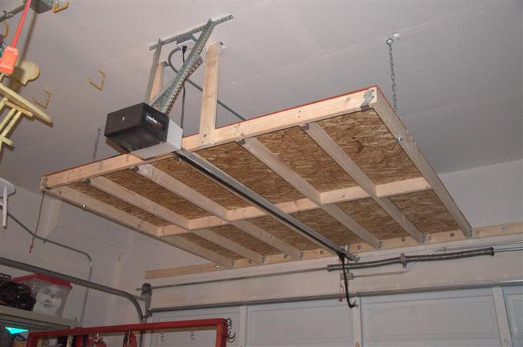 Architectural designs; The garage; Garage organization: (Rubbermaid containers and more...) Garage Ceiling Storage - OSB, 2x4s, and hardware.