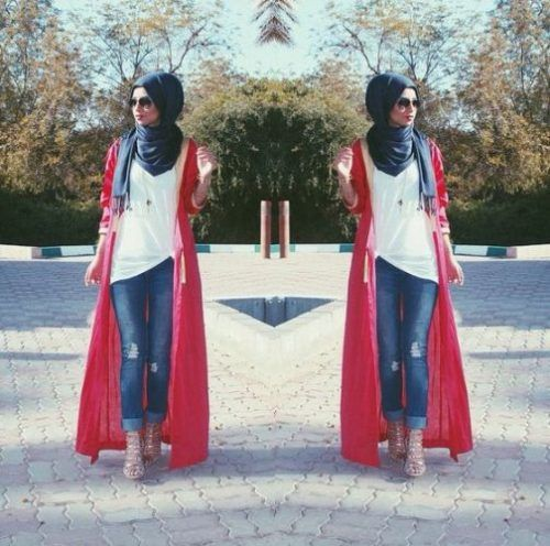 long red cardigan outfit- Long cardigans and vests hijab trends…