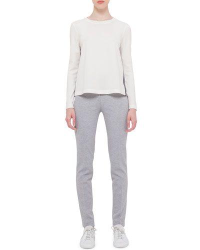 -63TP Akris punto  Mara Long Stretch-Jersey Pants, Silver