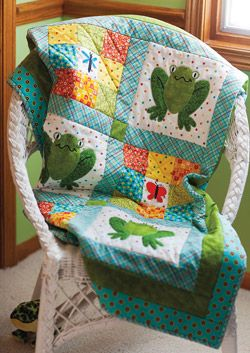 Frog applique quilt