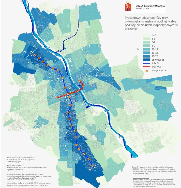 Warsaw Metro travel density by ZTM Warszawa #map #poland #warsaw #warszawa