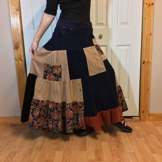 Hippie Patchwork Corduroy Skirt/Plus Size Winter Maxi Skirt