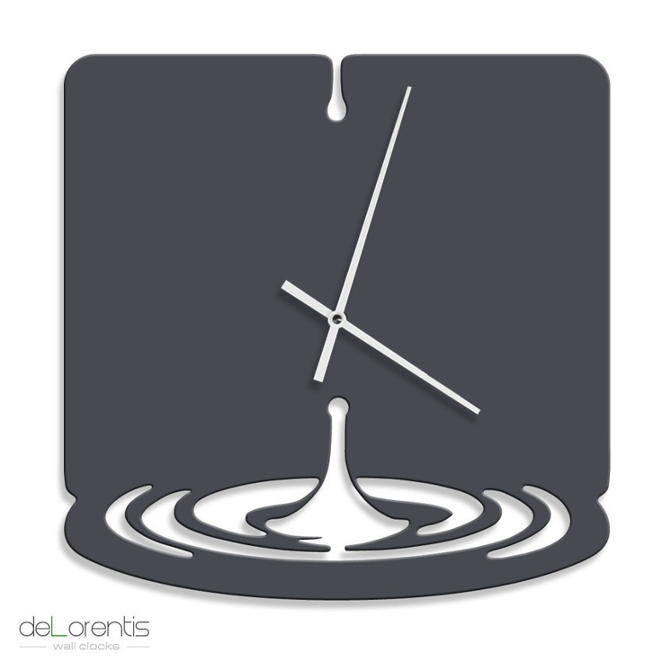 "Metal Wall clock WATERDROP -  40 cm / 16"" - Laser cutting design - © Tolonensis Creation"