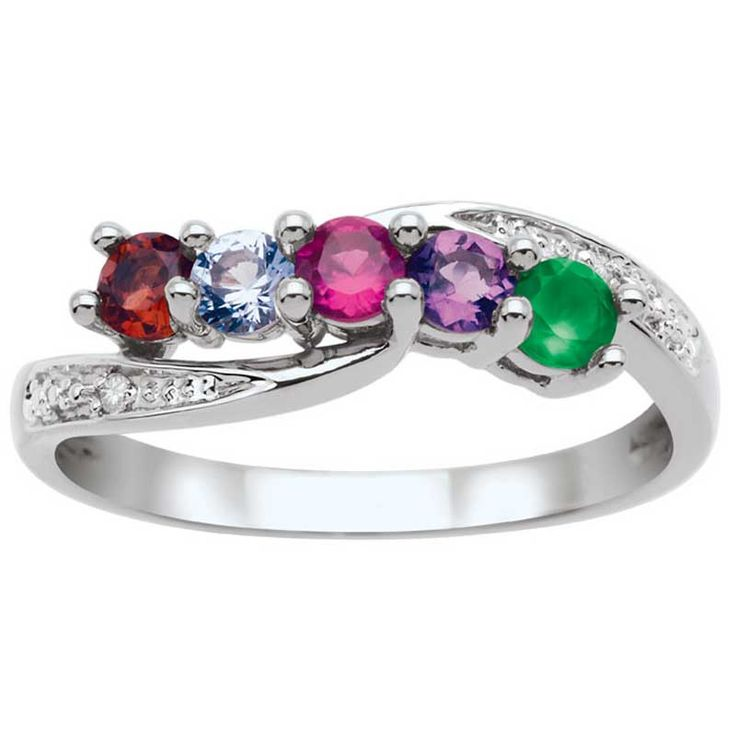 Zales Mothers Birthstone Large Wave Ring (3-9 Stones) R3dLWHb